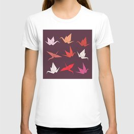 Japanese Origami paper cranes sketch, symbol of happiness, luck and longevity T-shirt