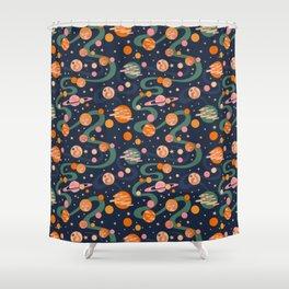 Cosmos Pattern, Blue, Orange, Green, Cosmic, Space Shower Curtain