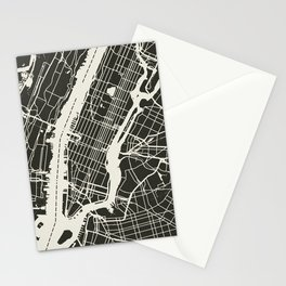 New York City Map_BLACK Stationery Cards