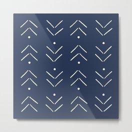 Arrow Lines Pattern in Navy Blue Metal Print
