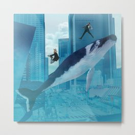 Whales and cities Metal Print