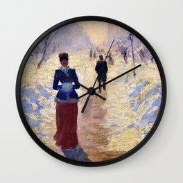 Hans Dahlr - Snowy street, Berlin - Digital Remastered Edition Wall Clock