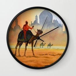 Camel Riders Alongside the Taj Mahal Wall Clock