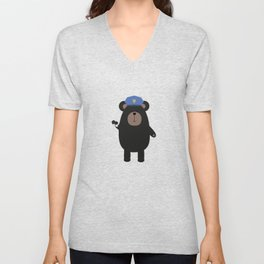 Police Black Bear and Unisex V-Neck