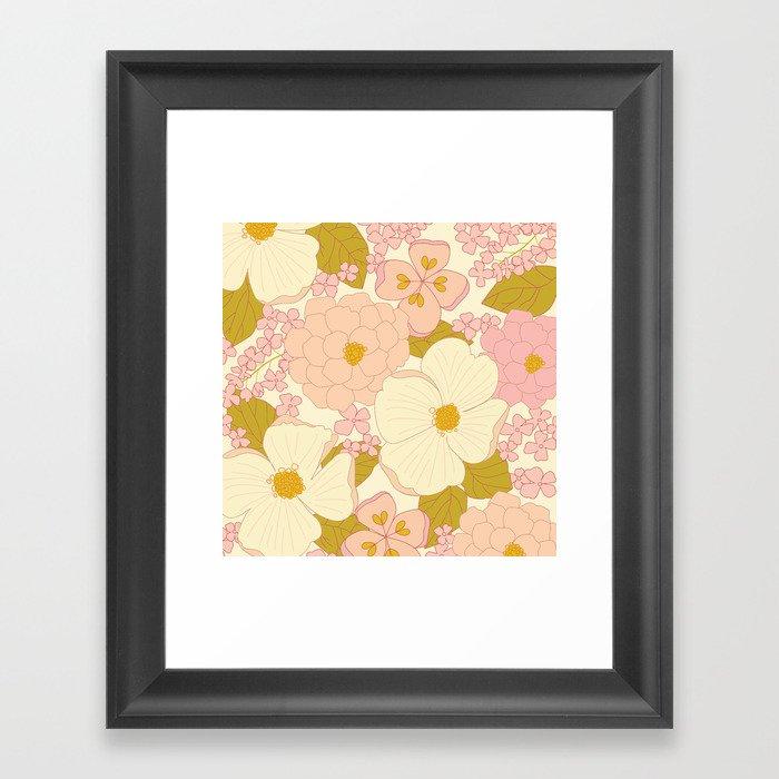 Pink Pastel Vintage Floral Pattern Gerahmter Kunstdruck