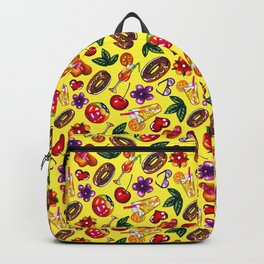 Watercolor summer pattern on yellow background Backpack