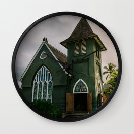 Wai'oli Hui'ia Church Hanalei Kauai Hawaii Printable Wall Art | Tropical Island Architecture Photography Print Wall Clock