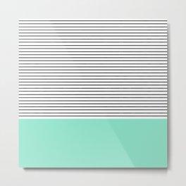 Minimal Mint Stripes Metal Print