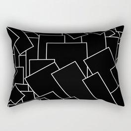 White Lines on Black I Rectangular Pillow