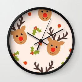 Christmas Reindeer, Holly and Ornaments Wall Clock