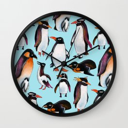 Watercolor penguins Wall Clock
