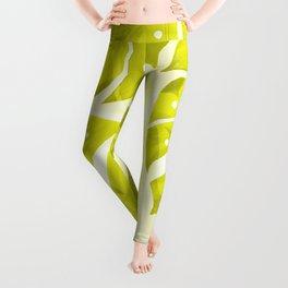 Lime Green Monstera Leaves Light Background #decor #society6 #buyart Leggings