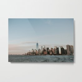 Skyline Upper Bay Sunset | Colourful Travel Photography | New York City, America (USA) Metal Print