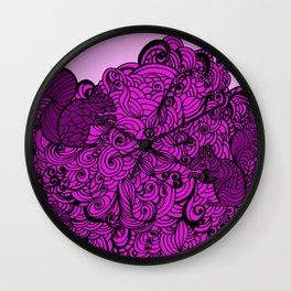 Squirrels Zentangle Drawing Pink Wall Clock
