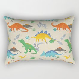Jurassic Dinosaurs in Primary Colors Rectangular Pillow