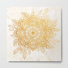 Queen Starring of Mandala-Gold Sunflower II Metal Print