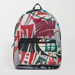 Frenzy- Abstract Geometric Collage Painting Backpack