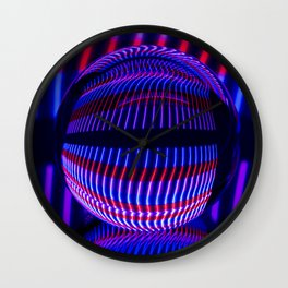 Red and Blue in the glass ball Wall Clock