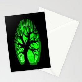 Happy HaLLoween Brain Tree : Green & Black Stationery Cards