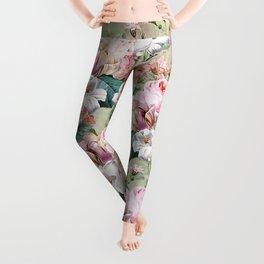 Vintage & Shabby Chic -Blush Pink Botanical Spring Roses Garden  Leggings