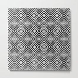 Black White Diamond Pattern Metal Print