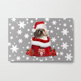Top Model Paul - Shih tzu dog Santa Claus Metal Print