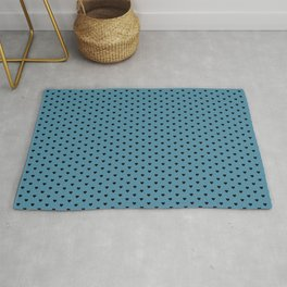 Small Black Heart pattern On Blue Background Rug