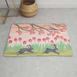 bunnies, tulips, and mourning doves Rug