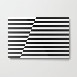 Black and White Offset Stripes Metal Print