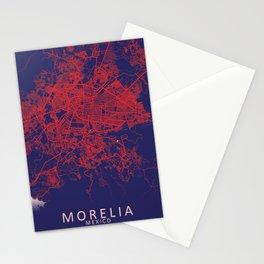 Morelia, Michoacán, Mexico, Blue, White, City, Map Stationery Cards