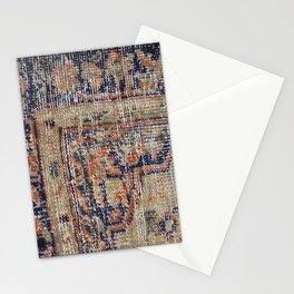 Vintage Woven Navy Blue and Tan Kilim  Stationery Cards