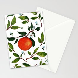 Citrus orange pretty watercolor artwork Stationery Cards