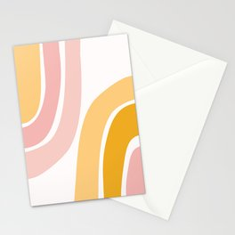 Abstract Shapes 37 in Mustard Yellow and Pale Pink Stationery Cards