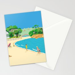 Modern Retro Art Print of Balmoral Beach, Sydney, Australia Stationery Cards
