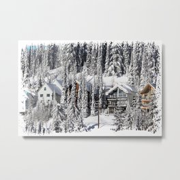 Winter Retreat - Mountain Resort Metal Print