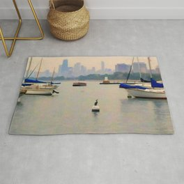 Lake by the City Rug