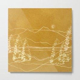 Minimalist Landscape Line Art I Metal Print