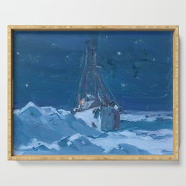 Clarence Gagnon - Arctic Night - Canada, Canadian Oil Painting - Group of Seven Serving Tray
