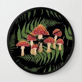 Magic Mushroom Fern Forest Dark  Wall Clock