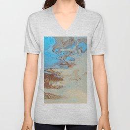 Fluid Art Acrylic Painting, Pour 27, Brown, Tan & Blue Blended Color Unisex V-Neck