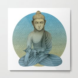 Buddha with cat 4 Metal Print