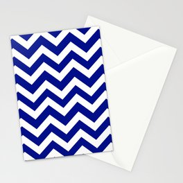 Phthalo blue - blue color - Zigzag Chevron Pattern Stationery Cards
