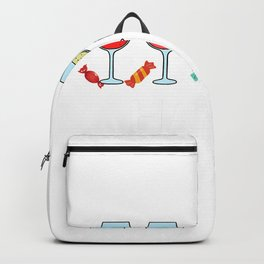 Happy Hallo-wine halloween wine glasses candy ghost T-Shirt Backpack