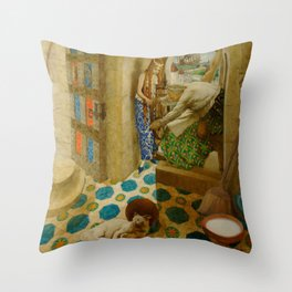 Sleeping Beauty The Princess Pricks her Finger on a Spinning Wheel Fairy Tale portrait by Leon Bakst Throw Pillow