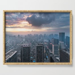 Chengdu skyline aerial view with clouds on the city Serving Tray