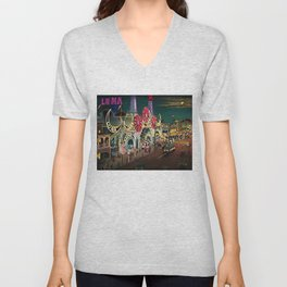 Luna Park Coney Island Amusement Park, New York, New York Portrait Unisex V-Neck