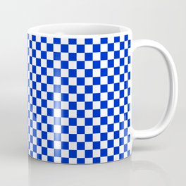 Small Cobalt Blue and White Checkerboard Pattern Coffee Mug
