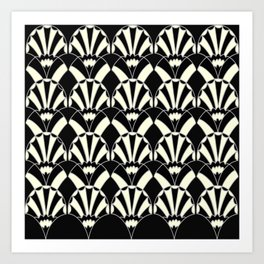 Art Deco Fans 1.3 Black Background Silver & Cream Art Print