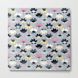 Textured Fan Flowers - Cool Colors Metal Print