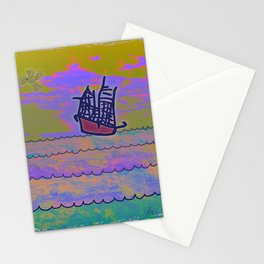 Tribal Ship Following The Star Stationery Cards